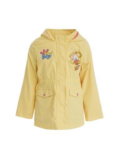DeFacto Kız Çocuk Kral Şakir Lisanslı  Kapüşonlu Uzun İnce Yağmurluk Sarı